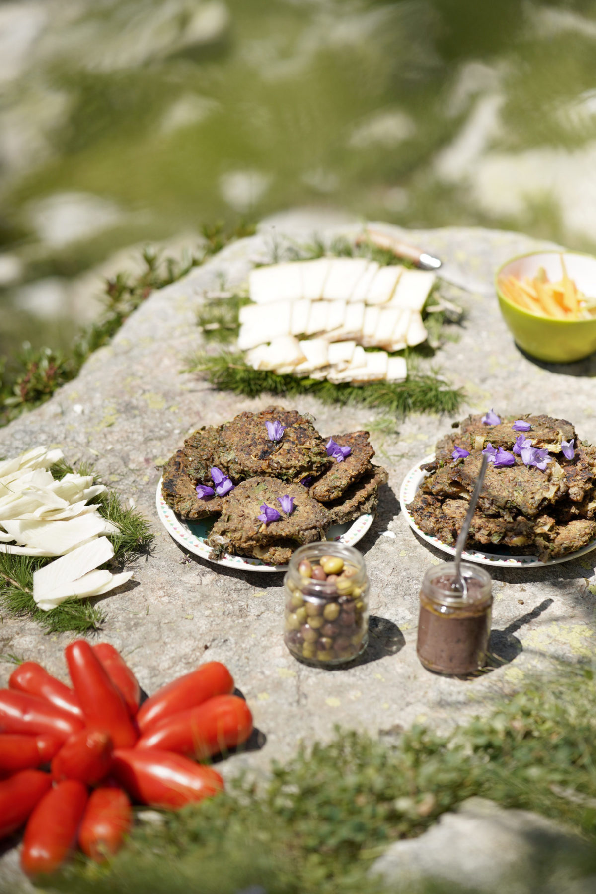 pique nique sauvage avec fleurs et plantes comestibles lors du séjour rando botanique mercantour de Wacohe