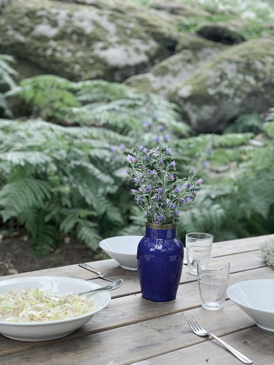 Repas en pleine nature lors du séjour Rando botanique en cabane en forêt de Fontainebleau près de Paris par wacohe